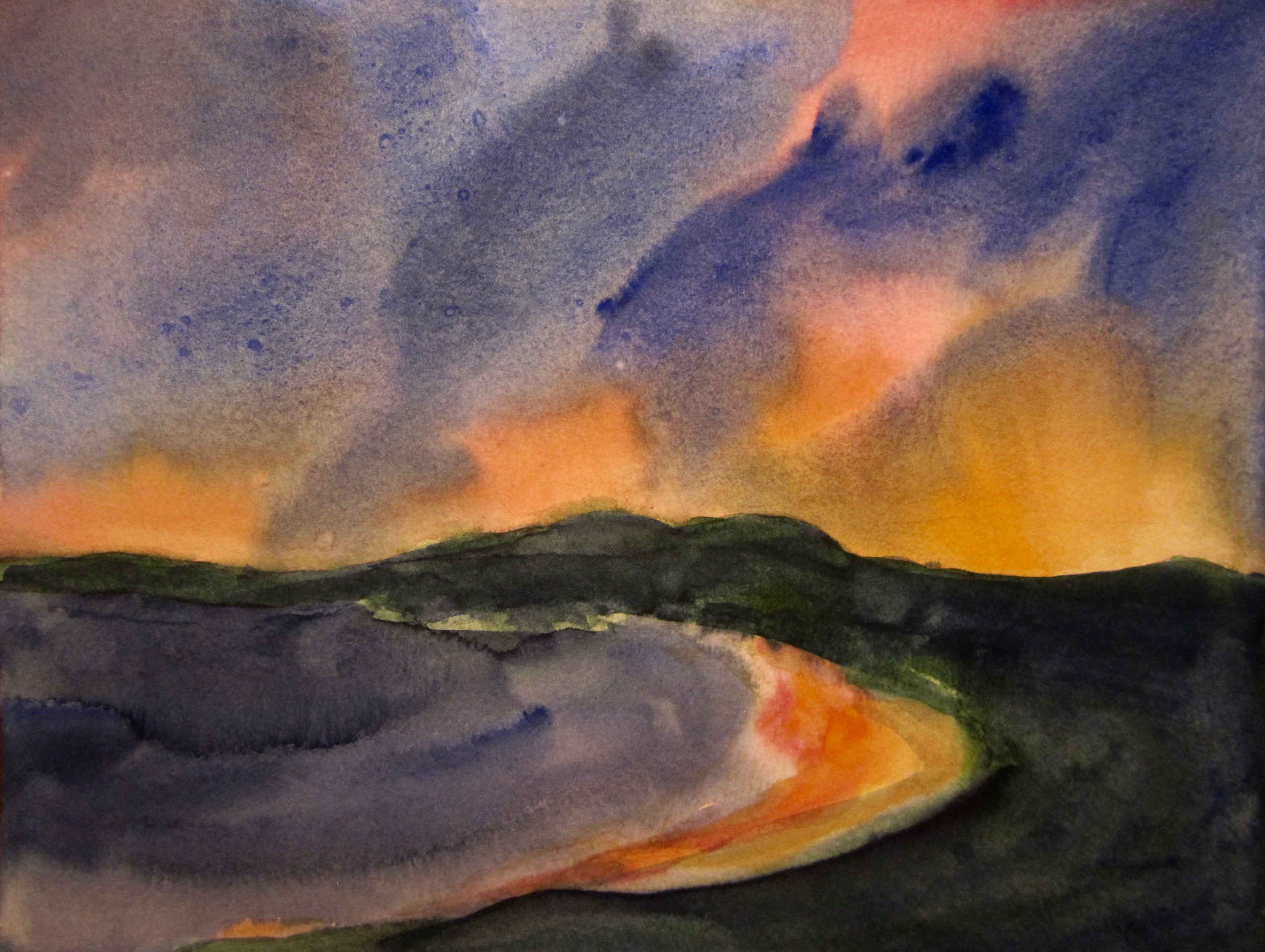 Sunset at Gerroa, Watercolour