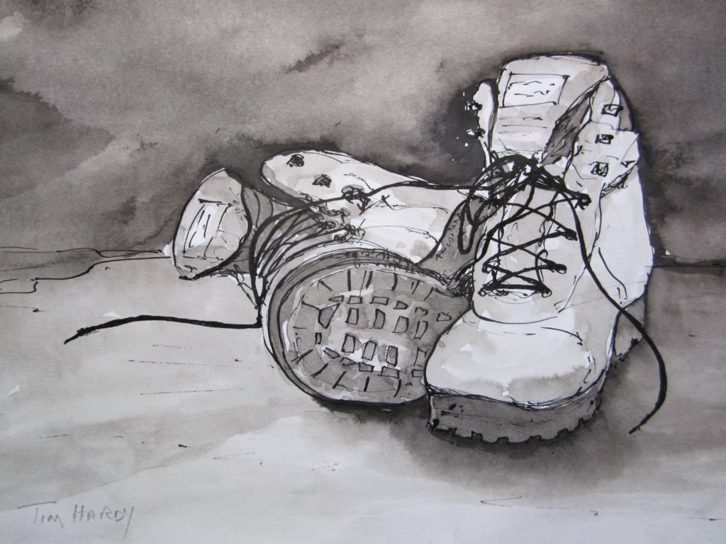 Old-Boots-ink-and-wash