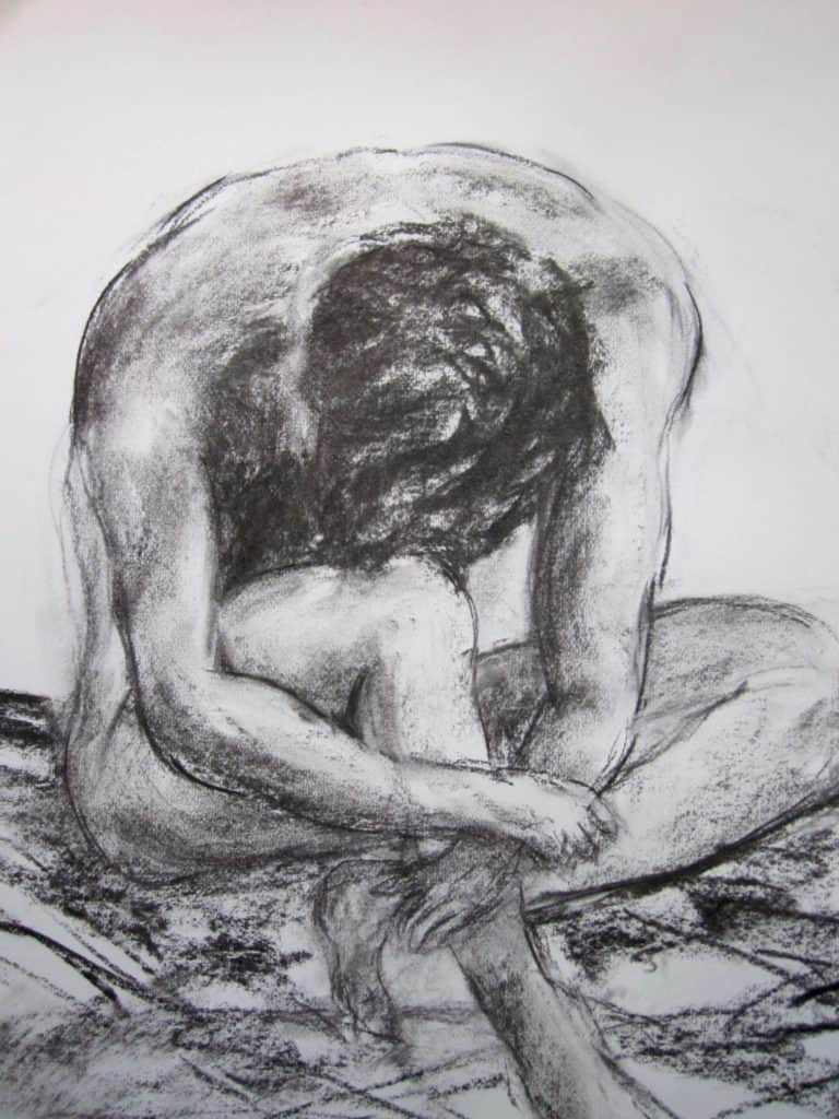 Leaning seated male nude