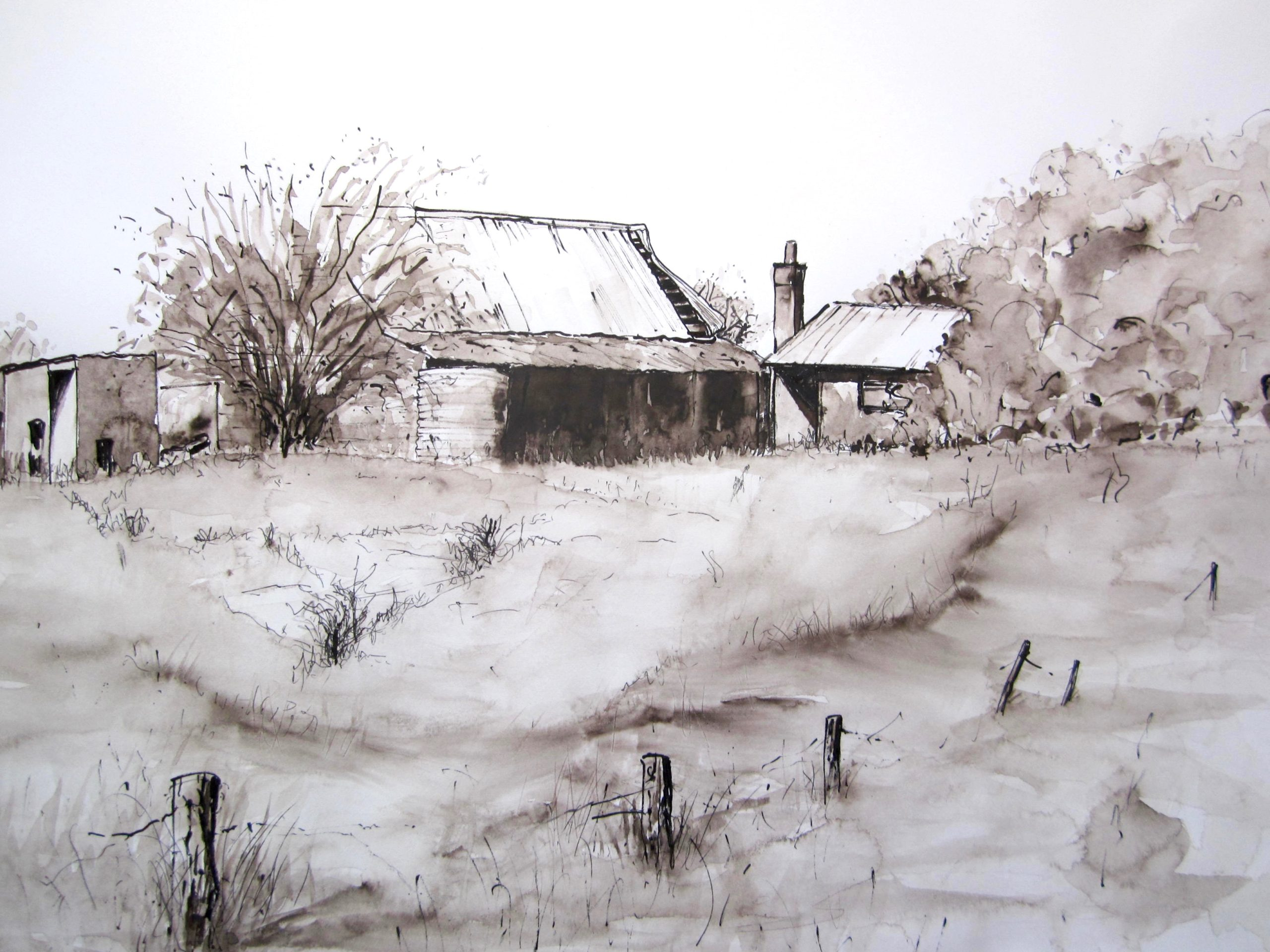 Deserted Homestead-ink pen sepia wash