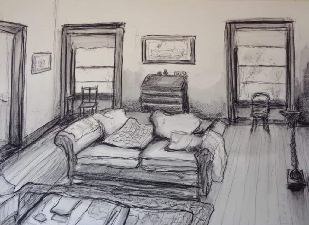 Living Room, charcoal, carbon