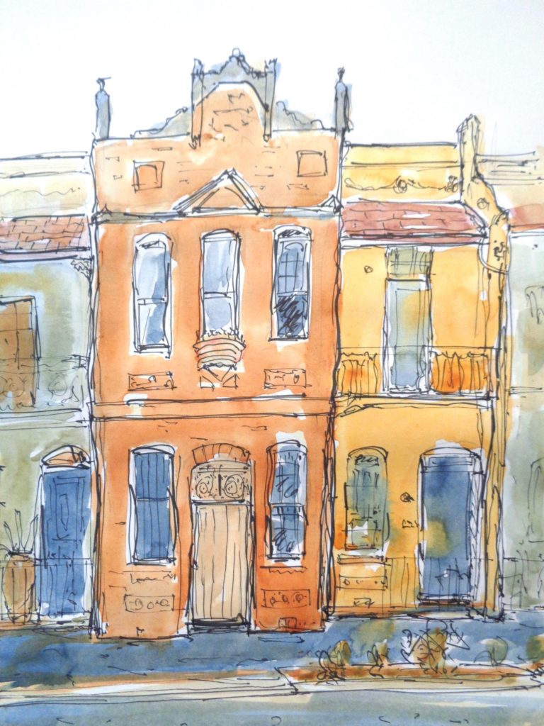 Surry Hills houses pen and ink, wc washes